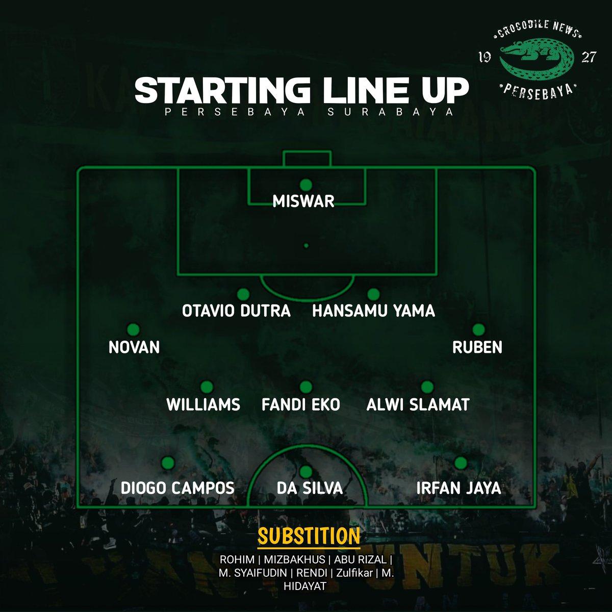 Line Up! ㅤ Susunan pemain Persebaya yang diturunkan Coach Aji Santoso hari ini menghadapi sang tamu Semen Padang FC. ㅤ #Persebaya #bajolijo #greenforce #CrocodileNews #bonek #bonita #PersebayaDay