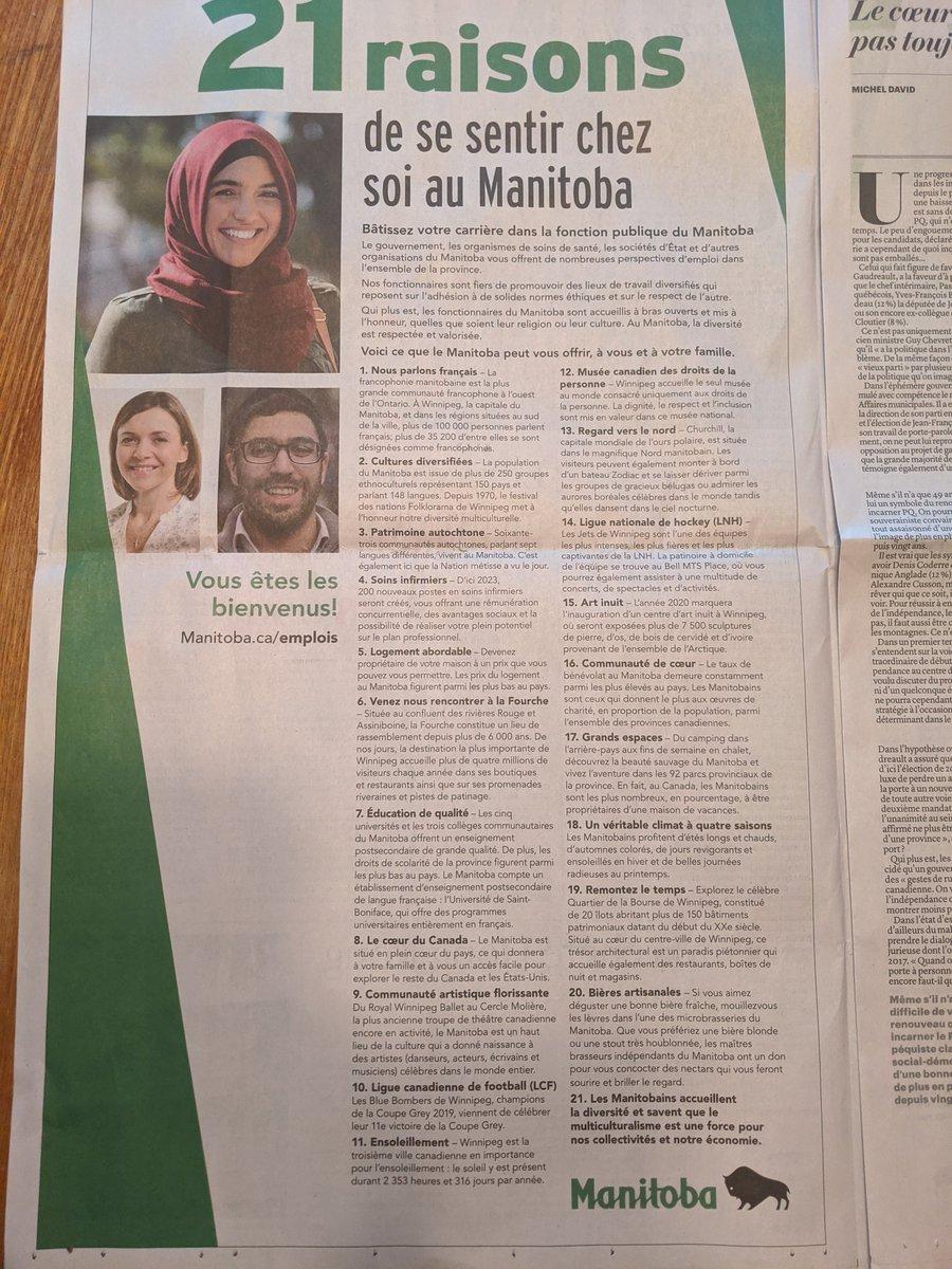 Ça ne va pas dépeupler Montréal au profit de Winnipeg, mais c'est quand même chouette qu'une province mette sa francophonie de l'avant. https://t.co/gCA8OaL5vX