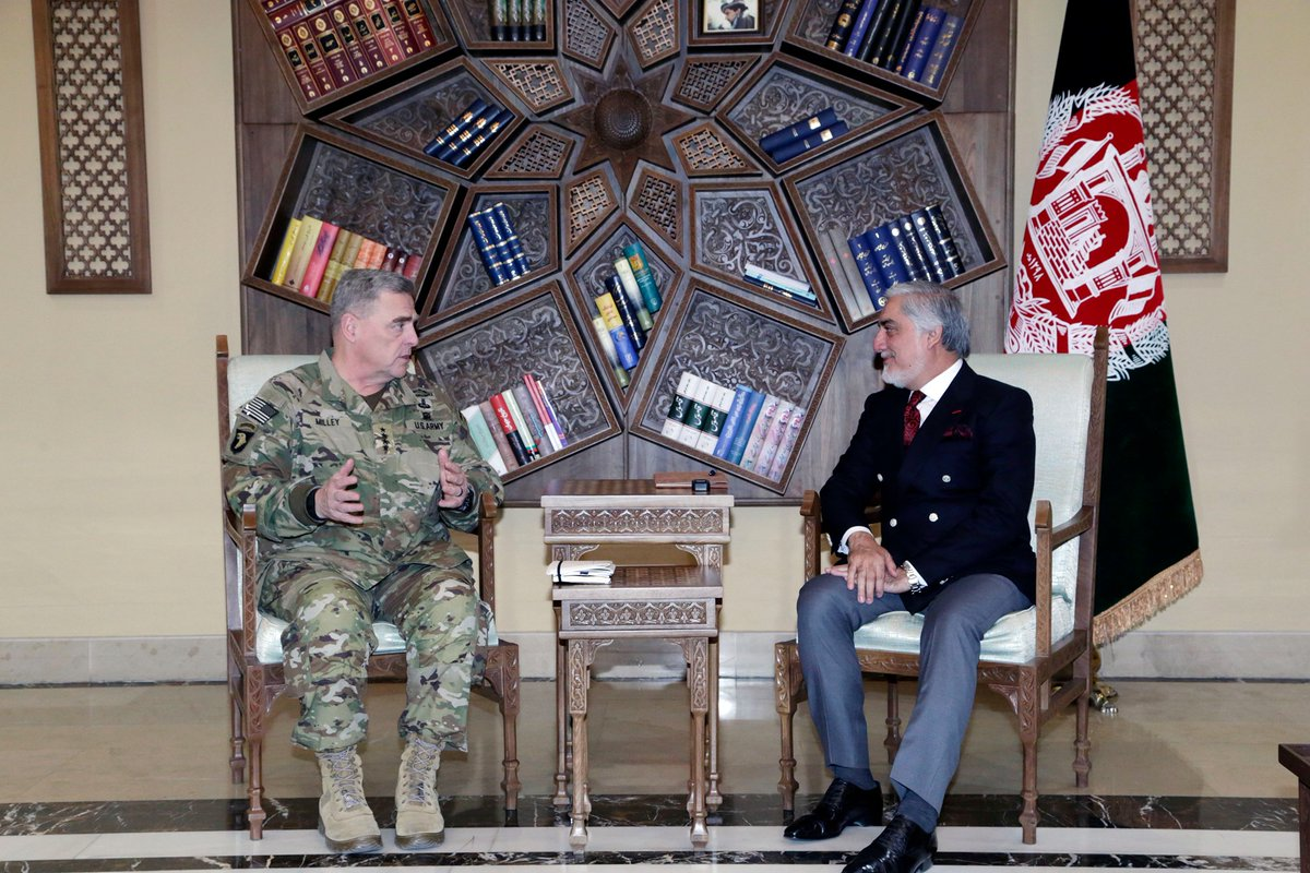 In a friendly meeting with Gen. Mark Milley, U.S. CJCS & team visiting Kabul, @drabdullahCE appreciated America's steadfast support to ANDSF in the fight against terrorism resulting in enemy setbacks. They also exchanged views on the timely prioritization of a comprehensive...1/3 <br>http://pic.twitter.com/ghYSgeBZJw