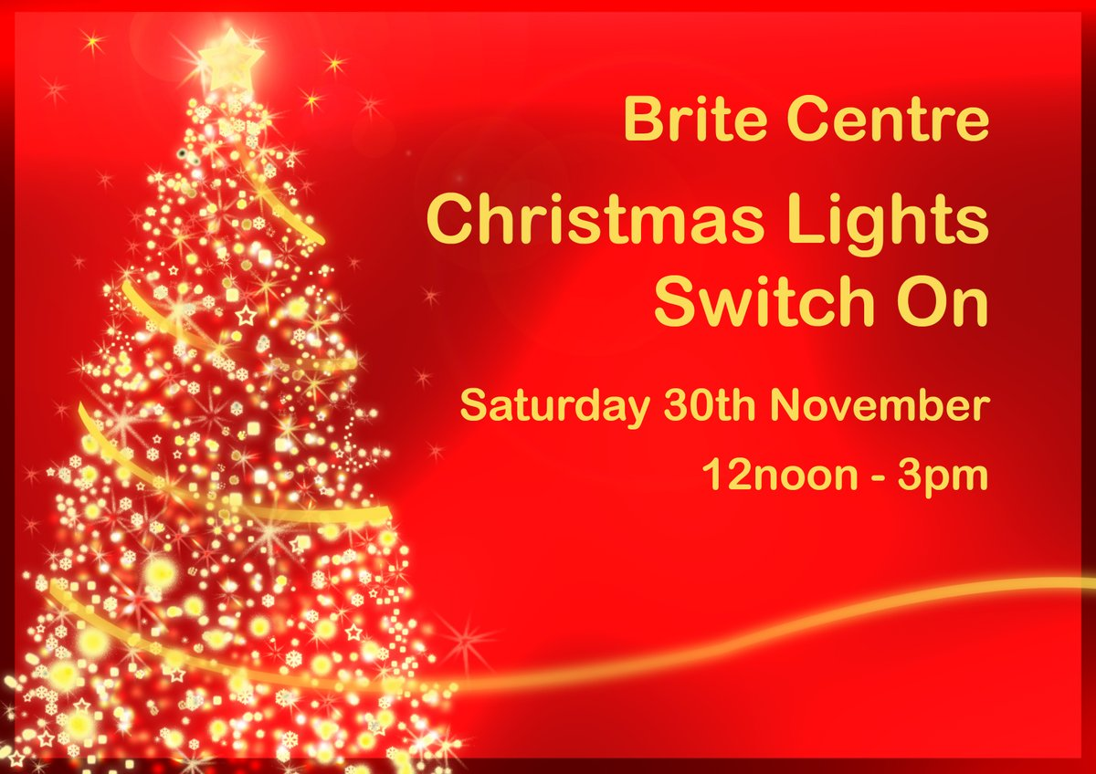 Join us for the Brite Centre Christmas Lights Switch On, where there will be... 🎁Stalls for your stocking fillers 🎵Choir at 1pm 🎅Santas Grotto 🍷Mulled wine and Mince pies 📍ow.ly/lcLG50x9DPF