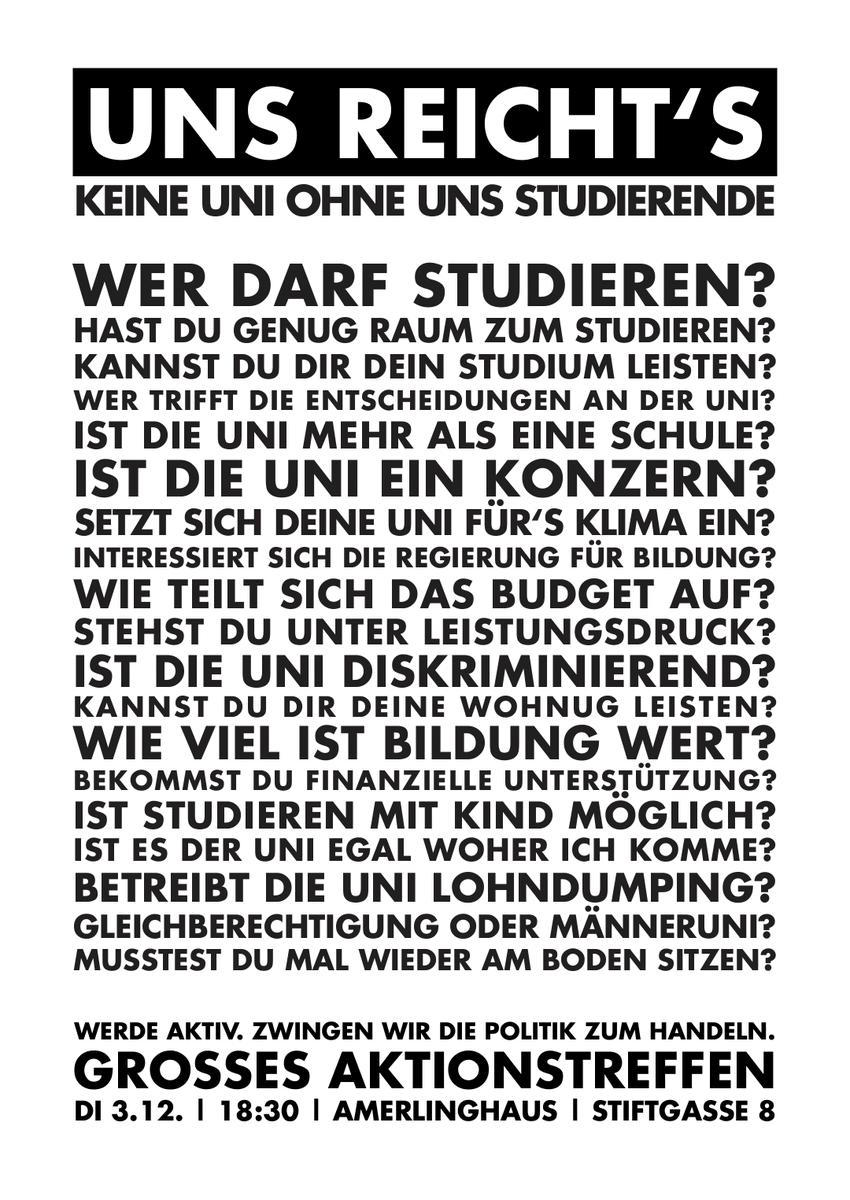 Zehn Jahre nach #unibrennt herrschen an unseren Universitäten nach wie vor unwürdige Zustände. @volkspartei und @Gruene_Austria entscheiden gerade am Verhandlungstisch über die zukünftige Hochschulpolitik. Werden wir aktiv!  Zwingen wir die Politik endlich zu handeln!