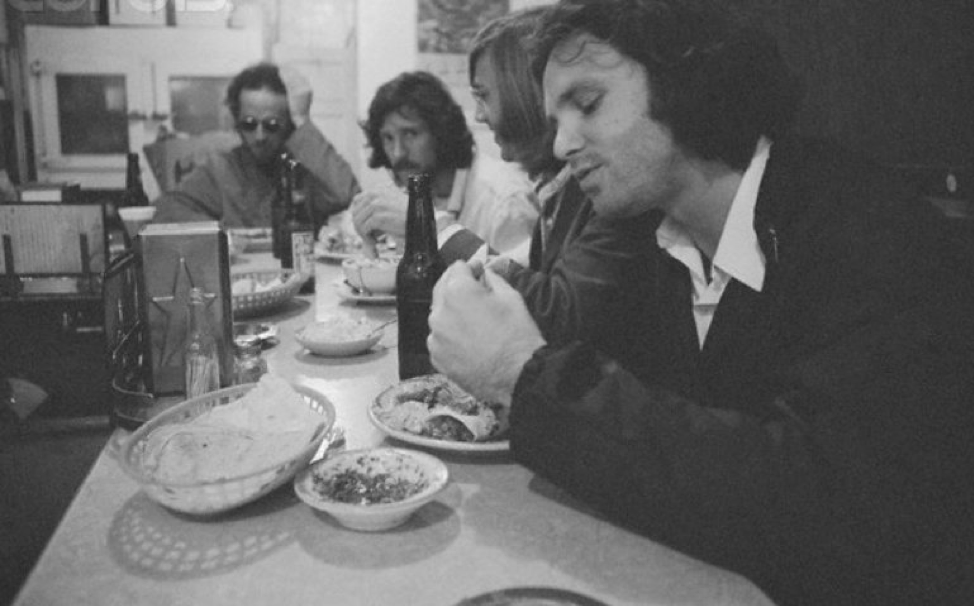"""""""Prefer a feast of friends to the giant family.""""  📸: Jim, Ray, John, and Robby dining in 1970.  #TheDoors #HappyThanksgiving #Thanksgiving #Feast #Legends"""