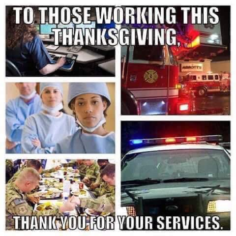 Happy Thanksgiving to all! And a very special thank you to ALL of you who continue to serve our communities day and night! https://t.co/Kedm83ndma