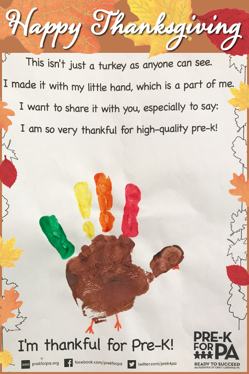 We're #ThankfulFor high-quality #prek in PA! #happythanksgivng