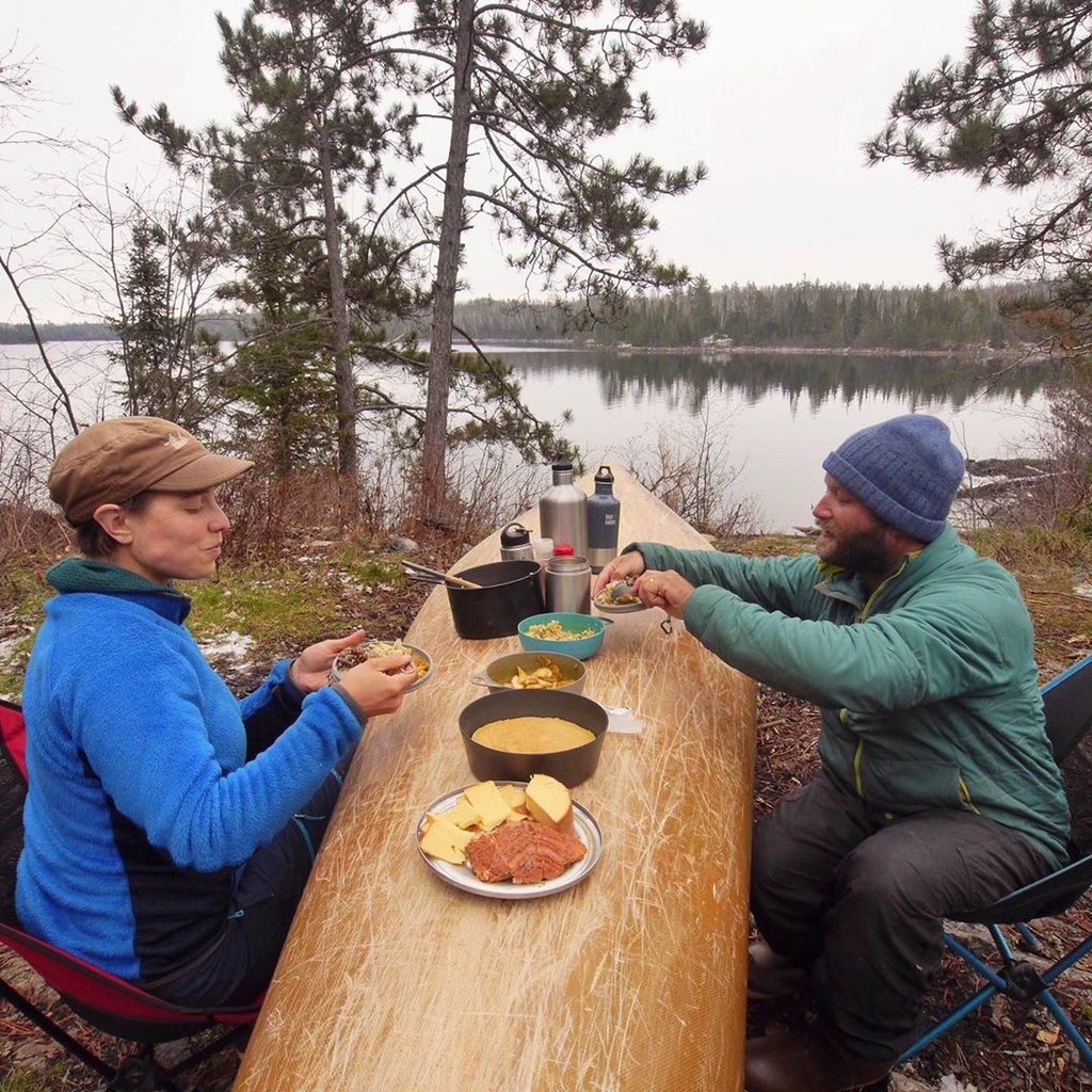 During their Year in the Wilderness to #SavetheBWCA, @FreemanExplore had their Thanksgiving meal for on an overturned canoe deep in the Wilderness on Knife Lake.