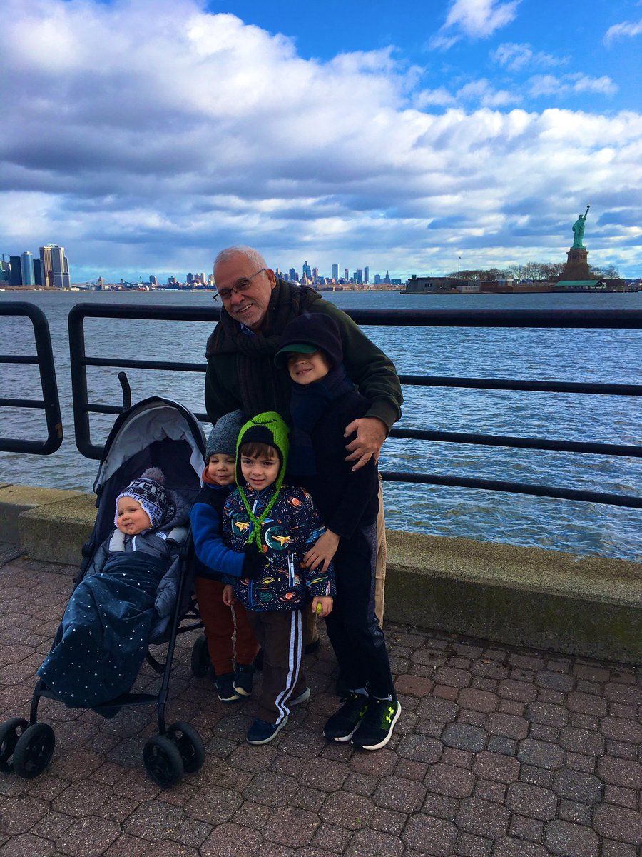 My dad with his four grandsons. These boys are able to live a blessed life because my parents and grandparents risked everything. The spirit of Emma Lazarus lives on. #Thanksgiving<br>http://pic.twitter.com/mJNnB7XmnK
