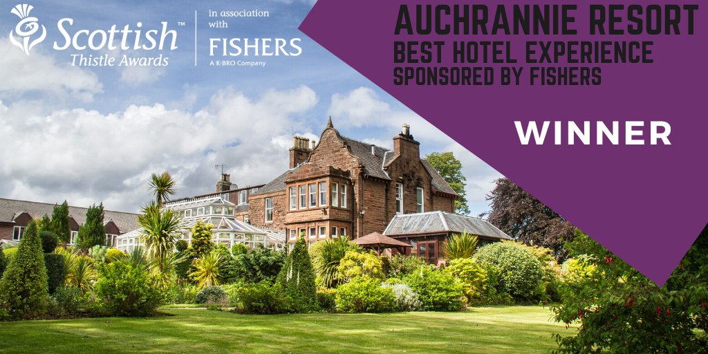 The winner of the Best Hotel Experience is @Auchrannie @fisherslaundry #ThistleAwards