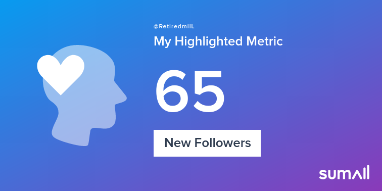 My week on Twitter 🎉: 10 Mentions, 3 Likes, 65 New Followers. See yours with sumall.com/performancetwe…