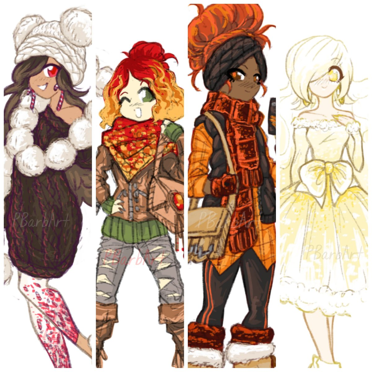 "My wonderful #Patrons requested that for this month, I continue the ""food theme"" I had going the previous month and make #magicalgirl #characterdesign art of all the rest of the #holidaydrinks !! From left to right #peppermintmocha #hotapplecider #pumpkinspicelatte & #eggnog ..."