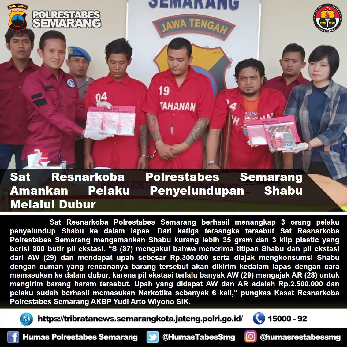 Selundupkan Shabu ke dalam Dubur, 3 orang diamankan Sat Resnarkoba Polrestabes Semarang #polrestabessemarang