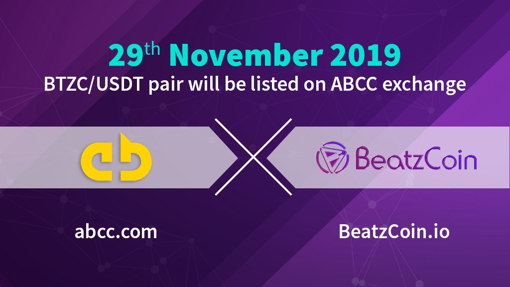 🎉 To celebrate our new partnership with @BeatzCoin & listing of #BTZC/#USDT pair on Nov 29, we're doing a joint week-long giveaway:  ☑️️ Rules ✅ RT ✅ Follow @BeatzCoin & @ABCC_Exchange ✅ Tag 3 friends  🏆 Prizes 1st: 50,000 $BTZC 2nd: 25k BTZC 3rd: 12,5k BTZC 4-10th: 1k BTZC https://t.co/kRuVhTpHuT