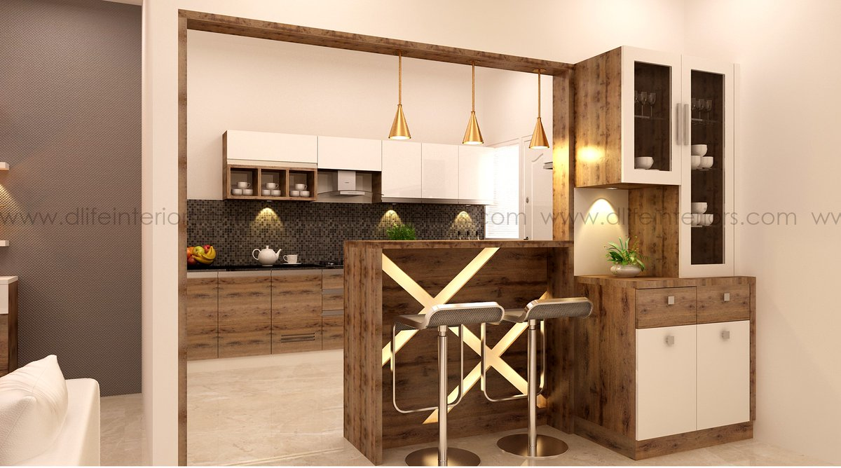 Dlife Home Interiors On Twitter Small Kitchen Design This Kitchen Style Is Almost Rid Of Barriers Walls Or Columns Instead It Follows An Open Plan Scheme Where Dining And Kitchen And Even