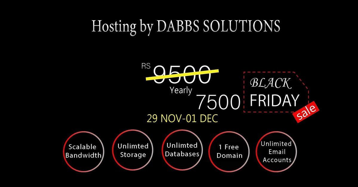 BLACK FRIDAY IS HERE AND SO ARE WE! Get Unlimited Hosting at a discounted rate of PKR 7500 for 1 Year! Offer valid till Sunday 1 December 2019  #webhosting #website #web #hosting https://t.co/eHWcj5lCu1