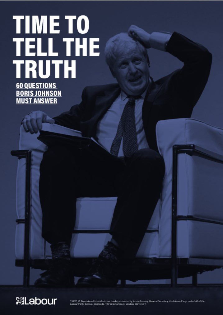 Time to tell the truth Ahead of Boris Johnson's press conference this morning, the Labour party has published 60 questions that the Prime Minister must answer, including on his racism, on his sexism, on his party's record, on his Ministers, on the NHS and on Jennifer Arcuri.