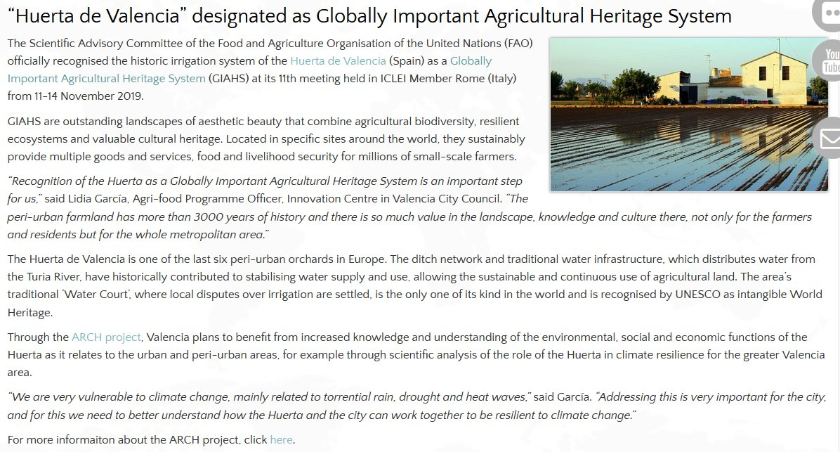Iclei Europe On Twitter Huerta De Valencia Has Been Designated A Globally Important Agricultural Heritage System Read About Its Importance And Valencia S Work With H2020 Arch At Https T Co 83yoe6x6c3 And On The Topic