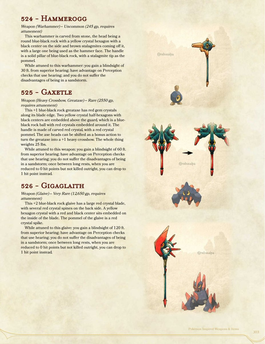 Today's #DnD #Pokemon #MagicItem, featuring @rebusalpa's art, p303, #Roggenrola, #Boldore & #Gigalith bring their superior #hearing and #sturdiness to a #warhammer, a #greataxe and a #glaive. Get the full PDF