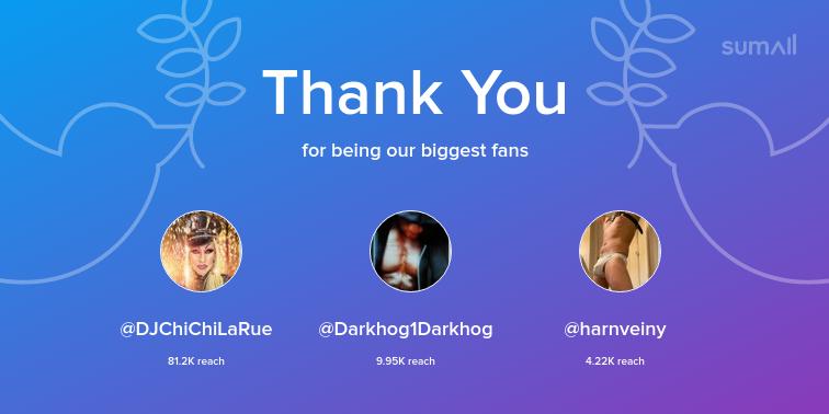Our biggest fans this week: DJChiChiLaRue, Darkhog1Darkhog, harnveiny. Thank you! via https://sumall.com/thankyou?utm_source=twitter&utm_medium=publishing&utm_campaign=thank_you_tweet&utm_content=text_and_media&utm_term=9924009646bc3e6bf790f5dd…
