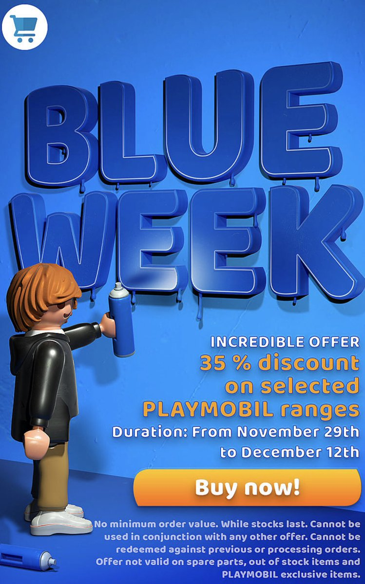 It's finally here! PLAYMOBIL #BlueWeeks has finally begun   There is 35% off selected ranges including #Space, #PetHotel, #EmergencyServices, #HTTYD, #Ghostbusters, #School, #Spirit, #Christmas, #PlaymobilTheMovie  http://bit.ly/PlaymobilBlueWeeks …  #BlackFridaypic.twitter.com/3o2CIzaRkG