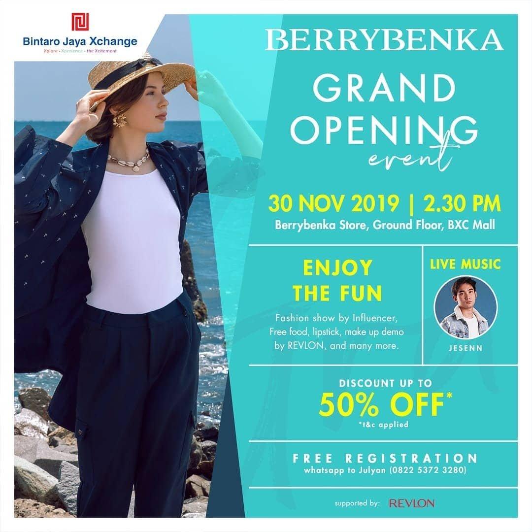Datang dan ramaikan acara Grand Opening @Berrybenka di Ground Floor - Bintaro Jaya Change Mall. Besok Sabtu tgl 30 November 2019, pukul 14.30 WIB.  Enjoy berbagai hiburan & promo menarik, free registrasi. See youu! https://t.co/po6ImSYkpz