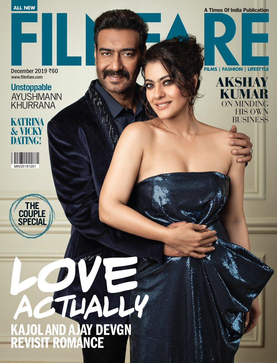 Couple special!   @itsKajolD and @ajaydevgn come together for #Filmfare's final cover of 2019.  📸: Abhay Singh 👗👚: @MohitRaich   Ajay Devgn:  💇🏻♂️: Mohammed Arif Ali Make-up: Harish Wadhone  Kajol:  Hair: Sangeeta Kumar Hegde  Make-up: Mallika Bhat  Location: @HiltonMumbai