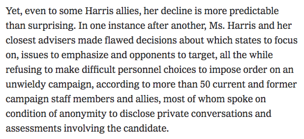 NYT publishes post-mortem on not-yet-officially-dead Kamala Harris campaign. Apparently former staffers had to take a number and get in line to dish to the paper... ow.ly/yMrA50xnIFt