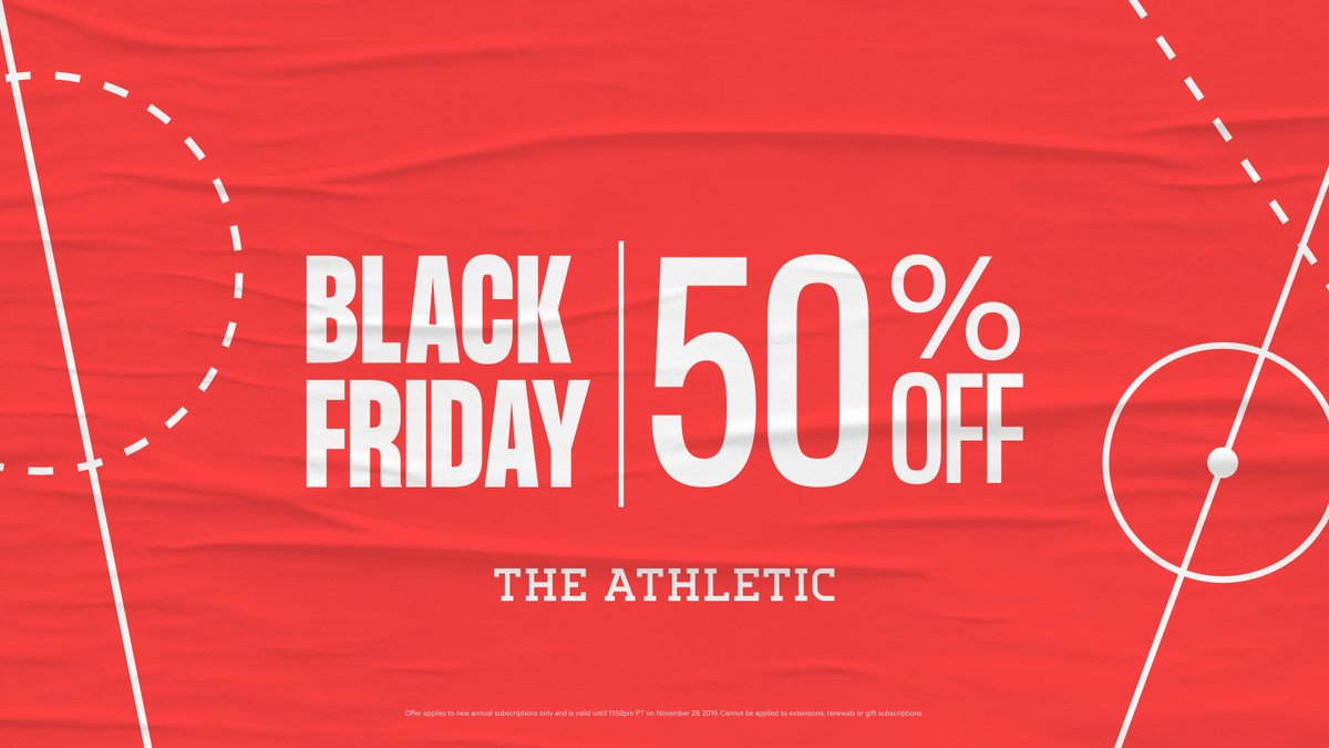 🚨 𝗕𝗟𝗔𝗖𝗞 𝗙𝗥𝗜𝗗𝗔𝗬 𝗦𝗣𝗘𝗖𝗜𝗔𝗟 🚨 Today only: New subscribers get 50% off an annual subscription to The Athletic. Just $2.49/mo. gives you full access to quality, ad-free local and national sports coverage from our all-star roster. 🔗» theathletic.com/blackfridaydeal