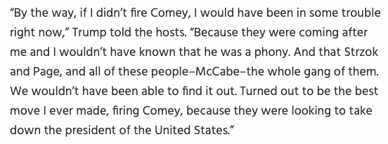 It's pretty amazing to consider that one week ago the president openly admitted (again) that he fired FBI Director Jim Comey to end a criminal investigation against him, which is obstruction of justice (a felony) and it received almost no media attention.