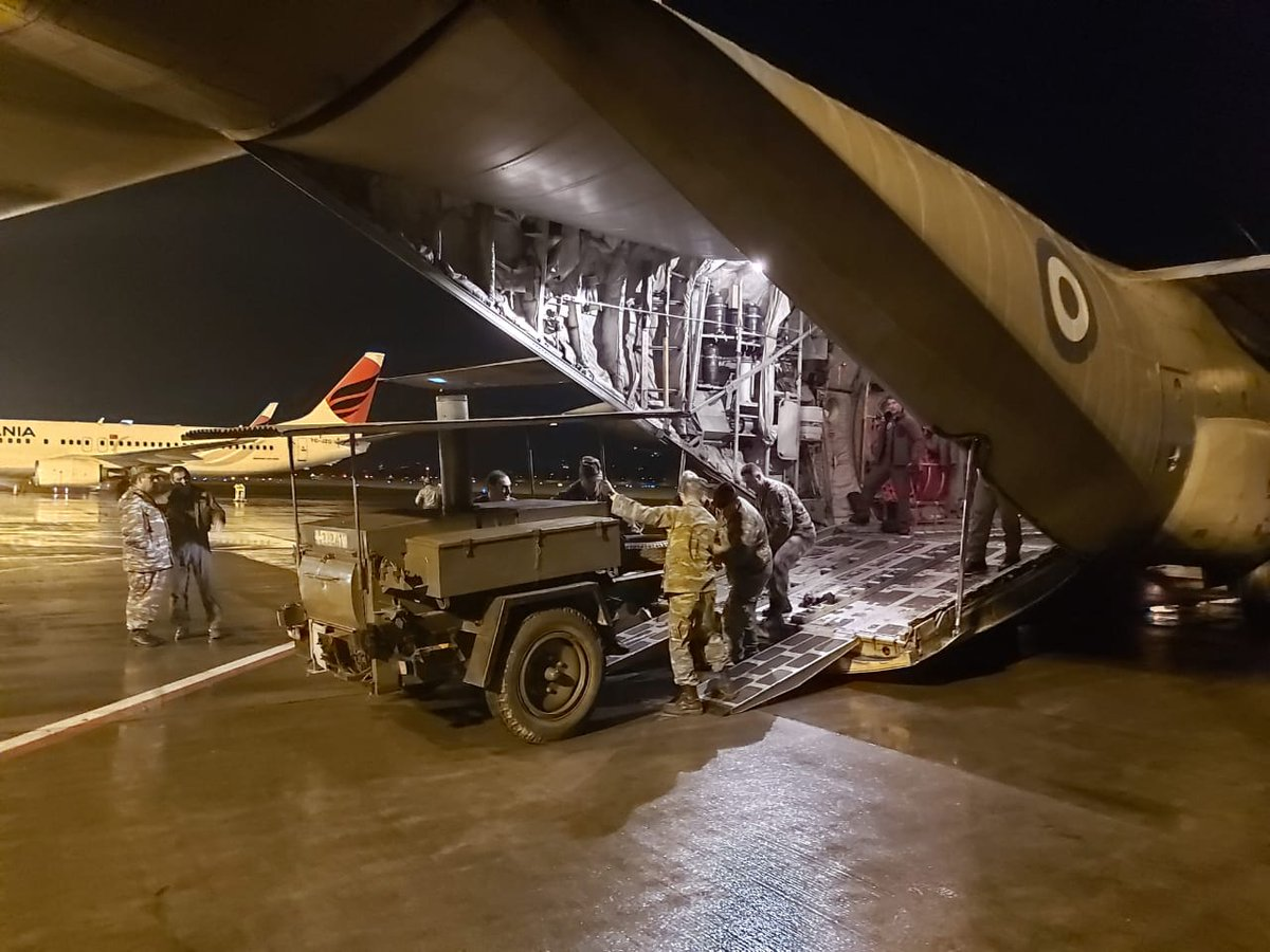 Last night, the Greek Air Force carried two fully equipped field kitchens to #Albania in order to help with food distribution to people in need after the earthquake. The capacity of the two units is approximately 1200 meals per day. Proud for #Greece, love for Albania 🇬🇷♥️🇦🇱