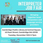 Image for the Tweet beginning: Interpreter Job Fair - use of