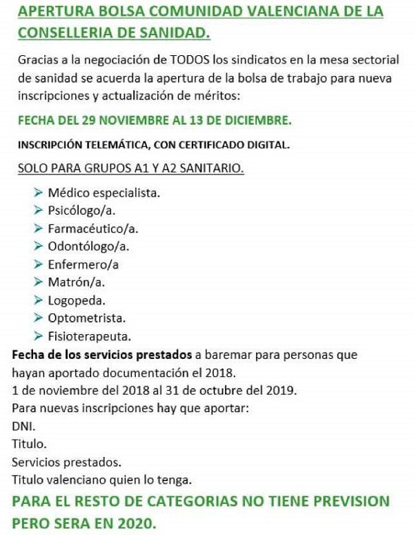 Edición 17 de la Bolsa de Empleo de Sanidad de la Comunidad Valenciana para determinadas categorías de personal estatutario... EKjIeVOWoAAXaZo?format=jpg&name=900x900