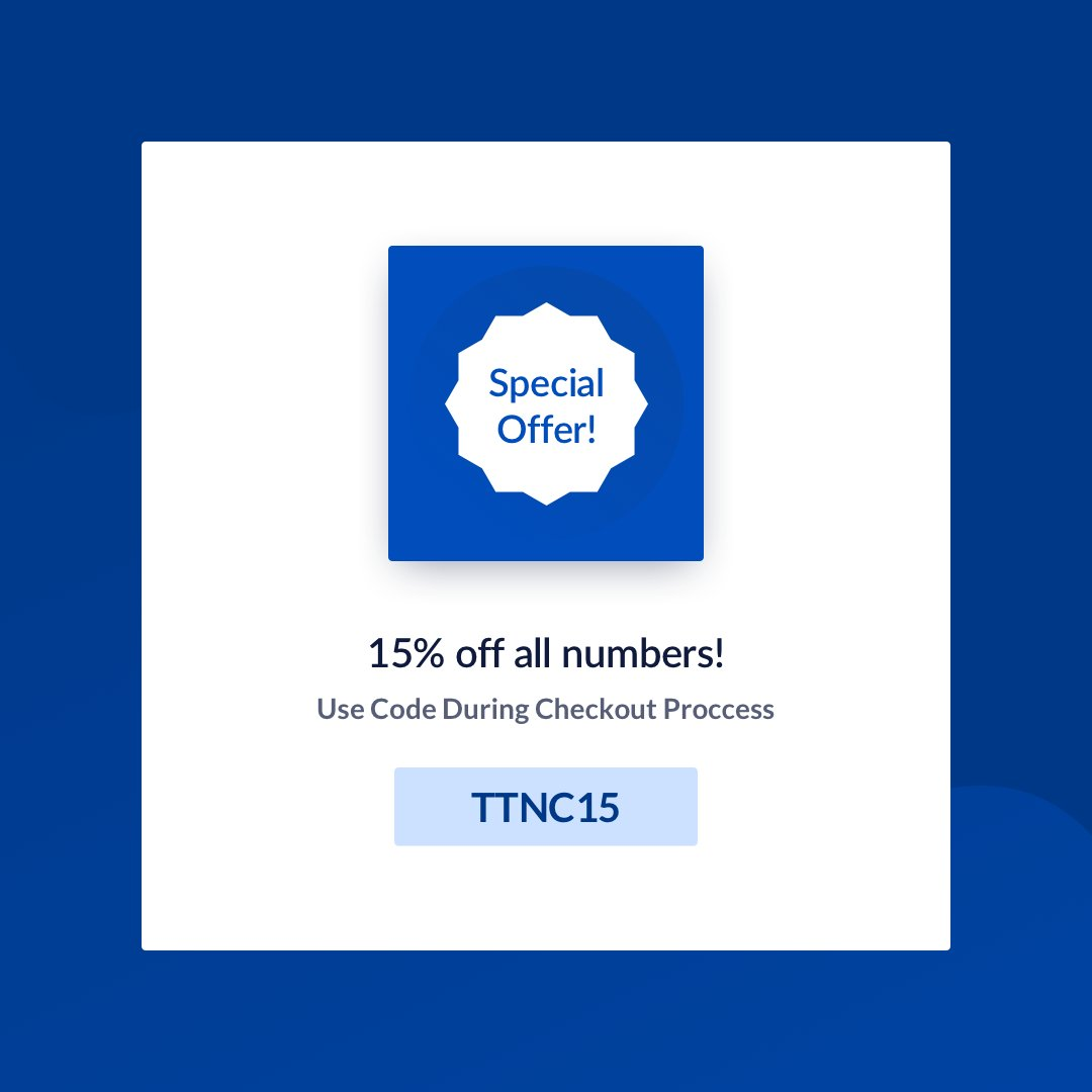 """SPECIAL OFFER-  We are offering 15% off all numbers to celebrate 15 years of TTNC. Use code """"TTNC15"""" at checkout. Valid until 31st December.   #offer #specialoffer #discount #telecoms #memorablenumbers #virtualnumberspic.twitter.com/pkzaEZAOQO"""