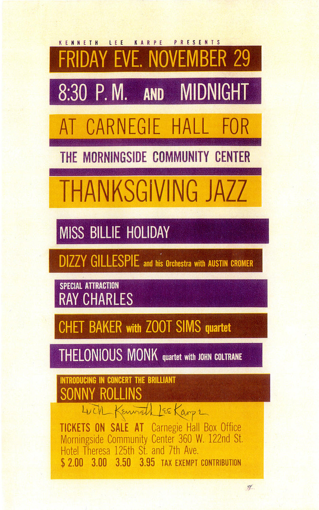 #OTD in 1957, two performances marked one of the most historic jazz events in #CarnegieHall's history w/ Dizzy Gillespie, Billie Holiday, Chet Baker, Thelonious Monk, John Coltrane, Ray Charles, & Sonny Rollins. Be a part of jazz history: bit.ly/2DdXyjk.