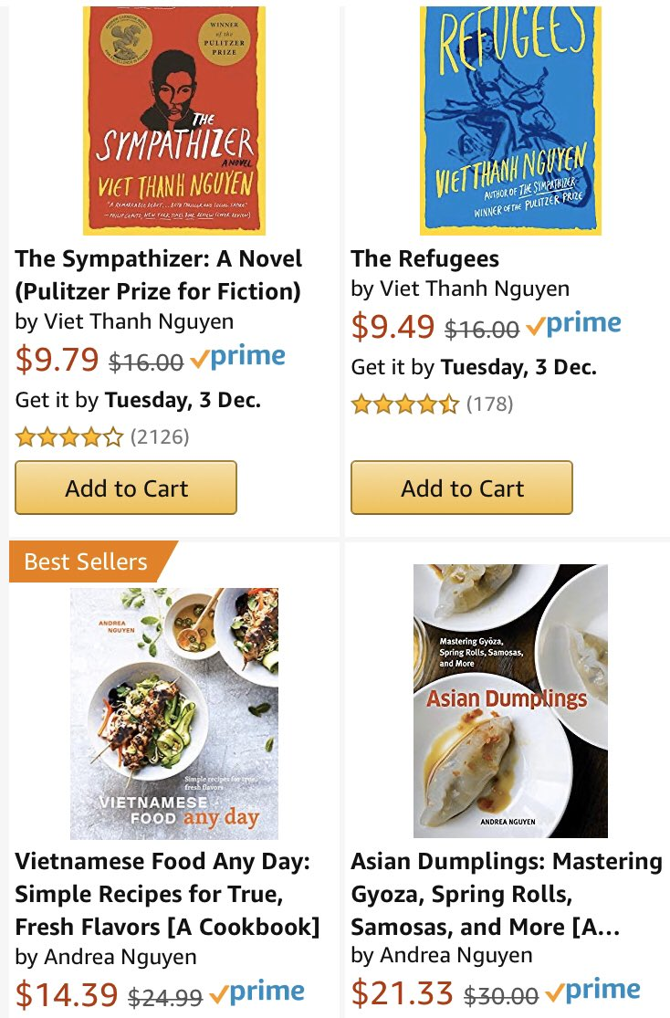 """Strike on a Nguyening 3-for-2 book deal at Amazon. Both works by @viet_t_nguyen are 👌. Just search for """"Nguyen"""" here... amazon.com/gp/aw/promotio…"""