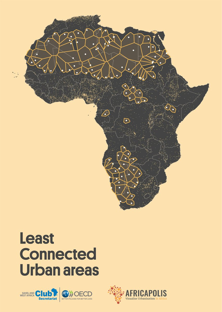 Picture of: Swac Oecd On Twitter 30daymapchallenge 𝐃𝐚𝐲 𝟐𝟗 𝐞𝐱𝐩𝐞𝐫𝐢𝐦𝐞𝐧𝐭𝐚𝐥 This Map Shows The 100 Least Connected Urban Agglomerations In Africa 80 Of The Least Connected Agglomerations Are In The Sahara And The Kalahari Desert Https T
