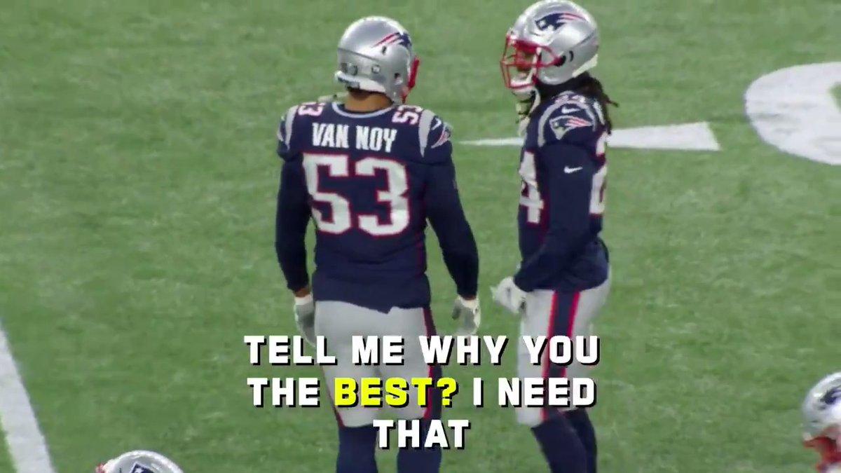 Kyle Van Noy just wants some of Stephon Gilmores super powers. 😂🦸♂️ (via @NFLFilms) @KVN_03 | @BumpNrunGilm0re | @Patriots | #GoPats