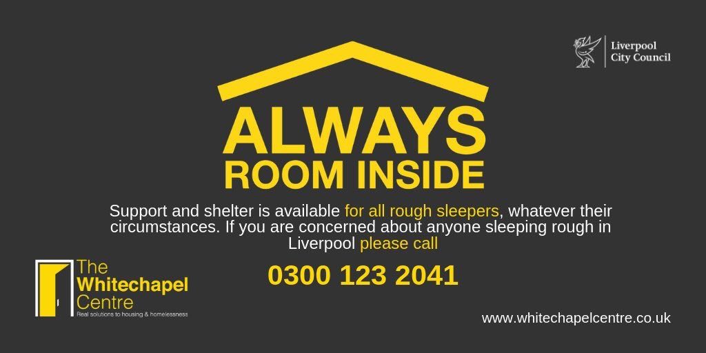 Temperatures due to drop below 0 tonight - no one should be sleeping rough in our city. Labre House night shelter is open every night for anyone who needs it. If you see someone sleeping rough call us anytime 0300 123 2041 bit.ly/AlwaysRoom #AlwaysRoomInside #Liverpool