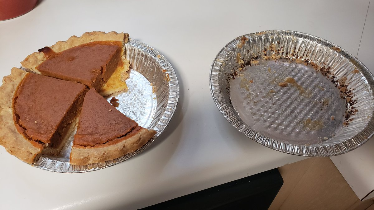 Remaining pumpkin pie vs remaining pecan pie Statistics do not lie, pecan pie is SUPERIOR