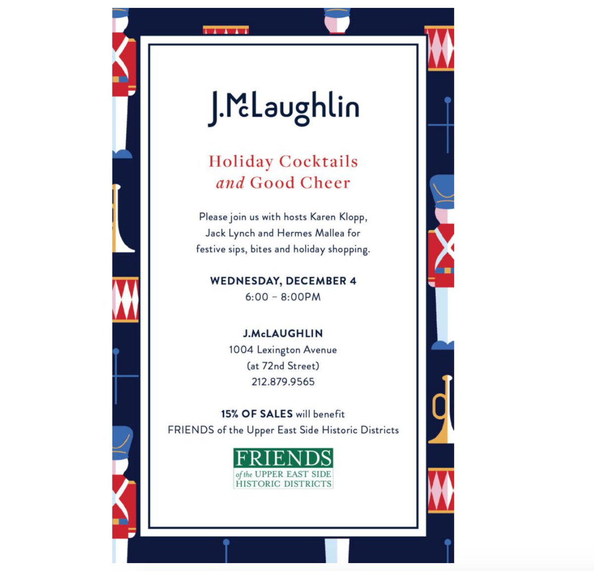TOMORROW EVENING: Join us for a festive evening of holiday shopping and cocktails at @JMcLaughlinNY on Lexington Avenue    https:// what2wearwhere.com/j-mclaughlin-p artay/  …   #nycparty #holidaynyc #christmasnyc #nyholiday #jmclaughlin <br>http://pic.twitter.com/4avY7Gj7iD