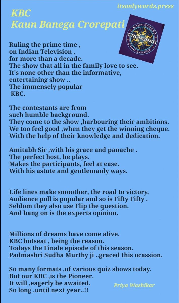 Thank you Mr Bachchan @SrBachchan for one more memorable episode of KBC..! Really inspired me to write this impromptu poem.#KBC11 #POEMS<br>http://pic.twitter.com/cgij66qyD3