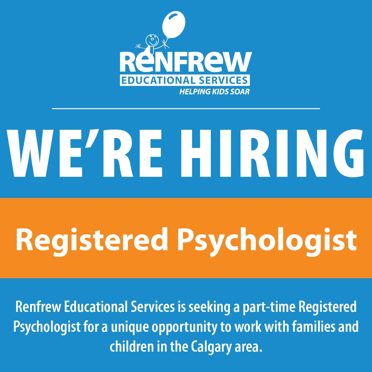 'Tis the season for a career change!  Qualified candidates are encouraged to apply to become Renfrew's newest part-time Registered Psychologist!  Apply here:   #YYCJobs #YYCNow #RESCalgary #HelpingKidsSoar