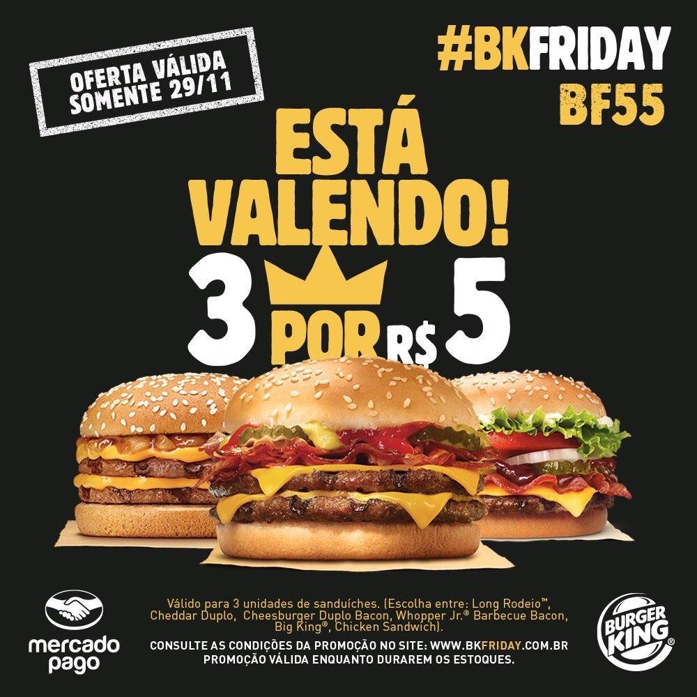Problemas acontecem e conosco não foi diferente, mas fazer algo para reparar é o que vale! Por isso, o Mercado Pago junto com o @BurgerKingBR vai garantir seus 3x5 essa noite, pra você reinar na Black Friday! https://t.co/XQv1drakIm
