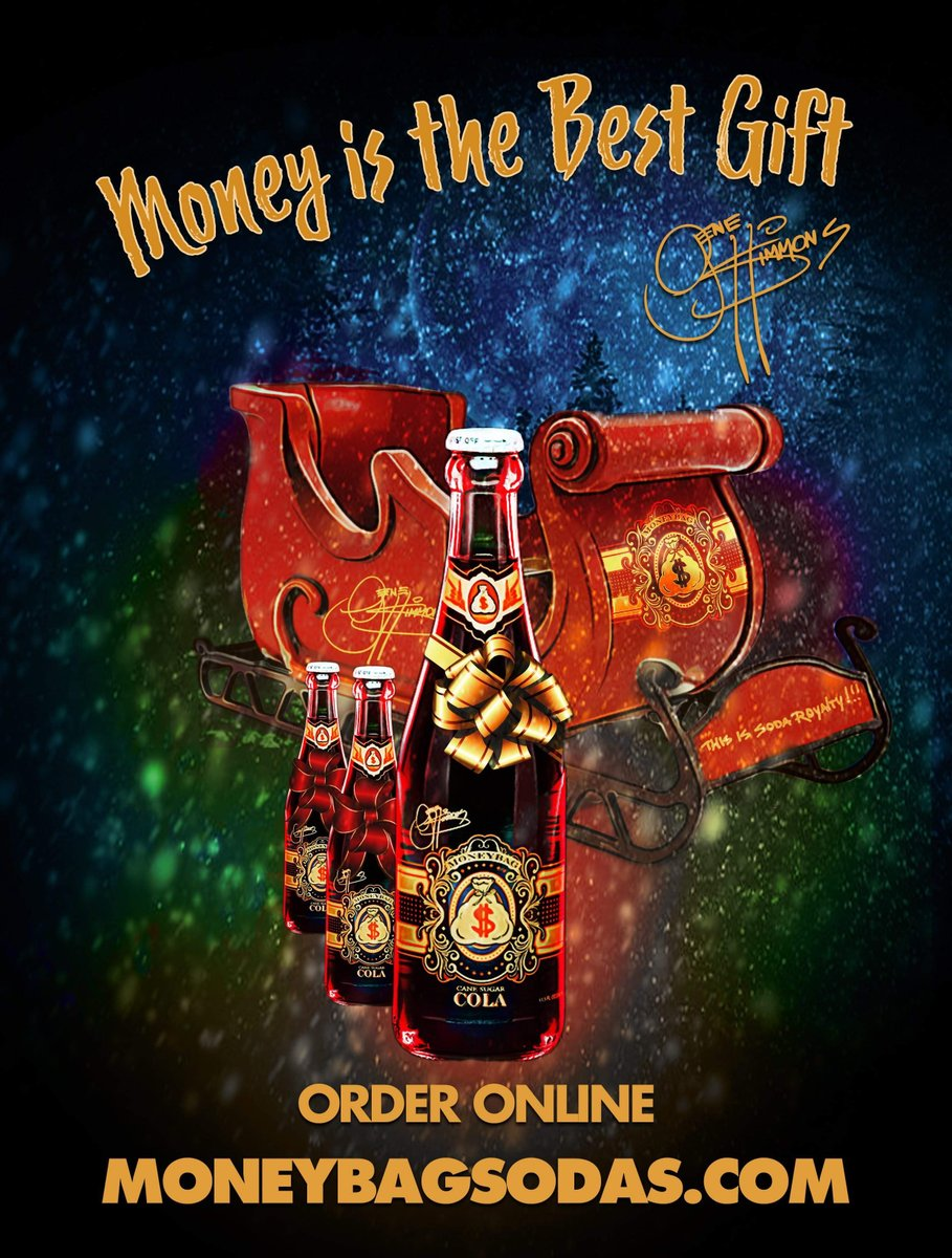 Give the gift of Gene Simmons MoneyBag Sodas! Order online at : MoneyBagSodas.com