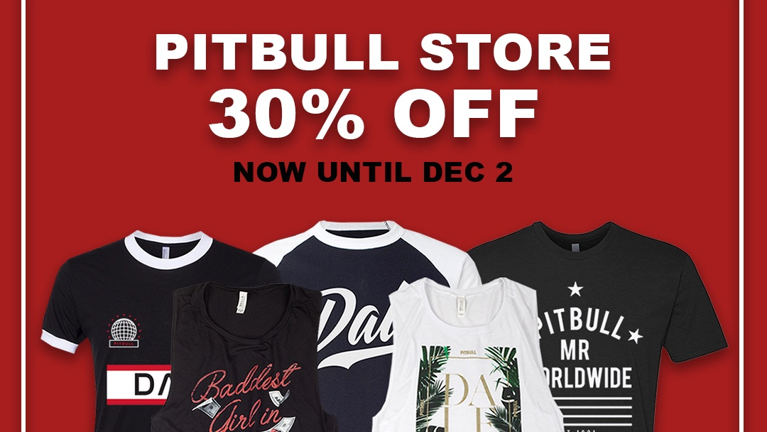 This weekend take an extra 30% off all items in the online store with the code DALE at checkout! 🎉 Shop here: smarturl.it/PitbullMerch