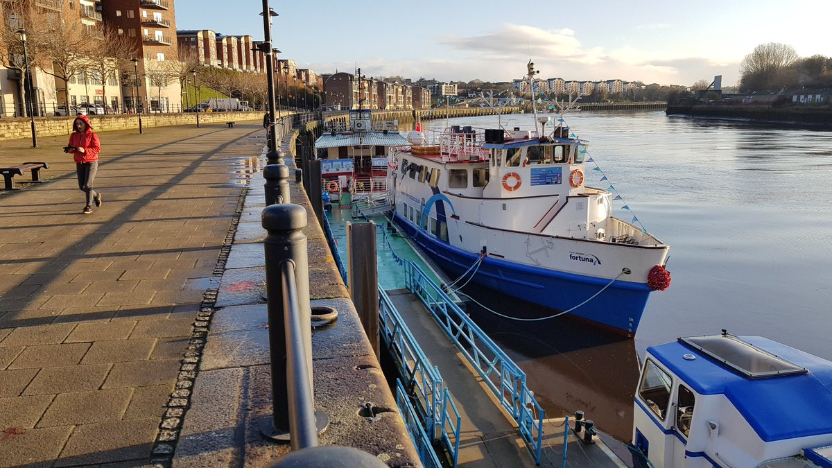 Just reflecting on @RevoLatest Strat Brd's sunrise cruise down the Tyne with @riverescapes1. Just as nailbitingly exciting as that recent episode of #Vera on @ITV but without the murder. The colours! The light! The craic! #lovethiscity  @VeraSeries #RevoOnTour #ColdFeetpic.twitter.com/K713LeMm7J