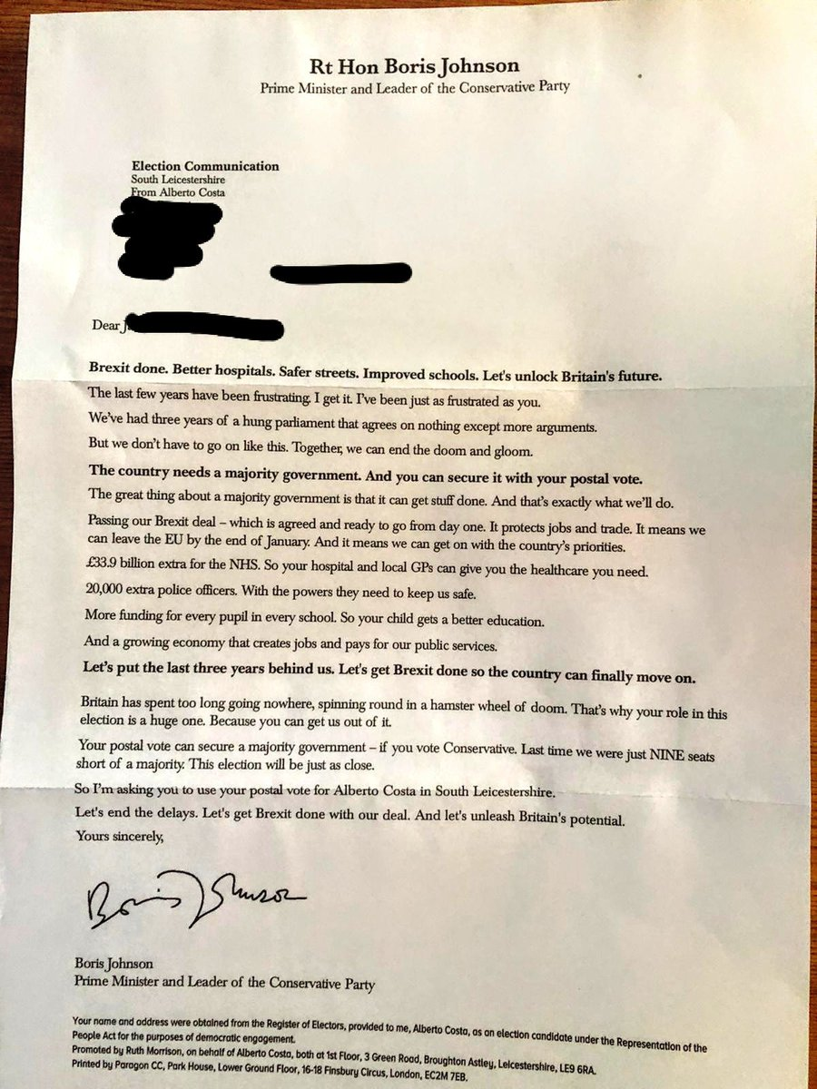 @mrjamesob got sent picture of this from our proxy voter alongside our postal votes. Bearing in mind the major cohort who tend to use postal votes, is this a bid to confuse & mislead? Doesn't seem right to me #isthislegal #ToryLies #misleadingtories