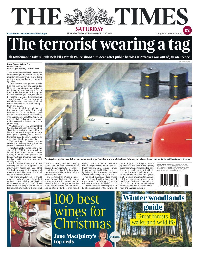 The U.K. newspaper @thetimes reports the London Bridge attacker was a convicted terrorist released on a license to attend an event on prisoner rehabilitation.