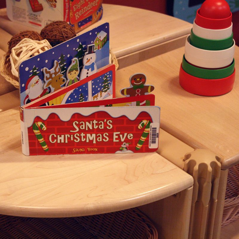 Little learning spaces can be found all around our schools. You will find books and toys or activities that relate to the season - learning can occur wherever you are!  #LearningEverywhere #HolidaySeason #RenfrewEducationalServices #literacy