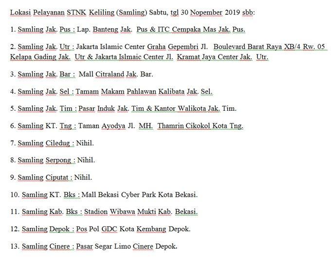 Lokasi Pelayanan STNK Keliling (Samling) Sabtu, tgl 30 NoVember 2019 sbb: