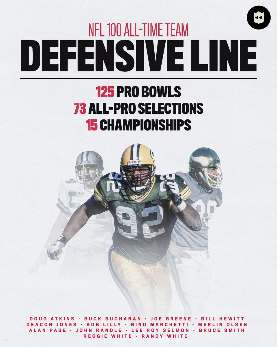 Presenting the 7 defensive ends, 7 defensive tackles, and 12 linebackers selected to the #NFL100 All-Time Team!