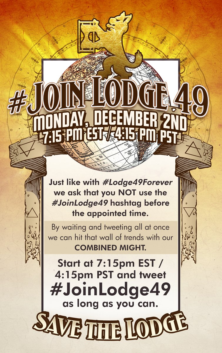 #SaveLodge49 #Lodge49Forever #Lodge49  If you'd like to do a little extra to help make sure someone hears the NOISE we make add mentions for streaming services like @netflix @PrimeVideo @hulu @disneyplus  on that day. DON'T use the hastag til that day, lest we dilute the results.